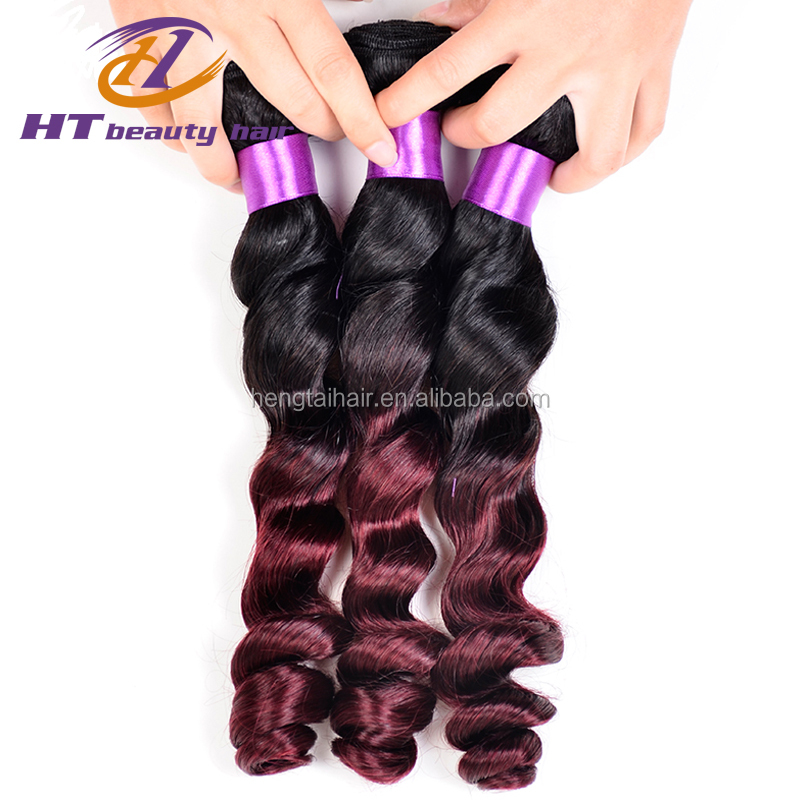 7A Brazillian Loose Wave Two Tone Ombre Burgundy Brazilian Hair 99j Loose Wave Brazilian Wet And Wavy Hair 1pcs