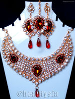 Bollywood Artificial Indian Jewelery Diamante Sparkle Necklace Set Maroon F13