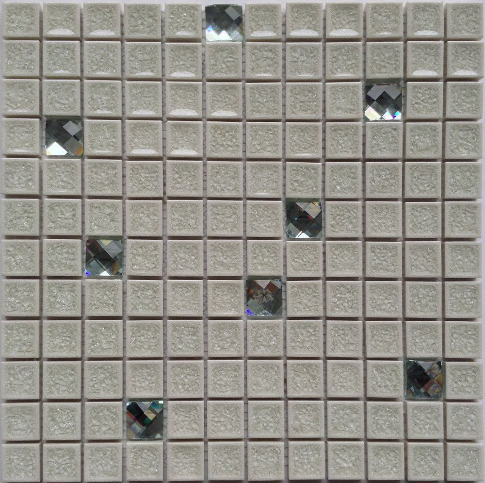 white procelain mixed diamond mirror glass mosaic porcelain mosaic tile