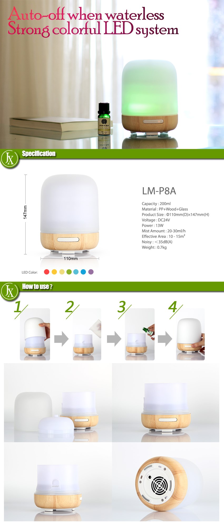200ml Electric Glass Oil Diffuser Aroma Frosted Glass Exterior Ultrasonic Cool Mist Humidifier for Home Baby Room Yoga