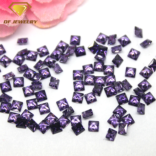Wholesale Price Square Gemstone Machine Cut Amethyst CZ Stone