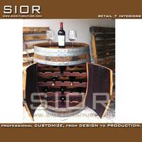 China Made Manufacturer Vintage Classical Wood Whole Barrel Wine Display Rack