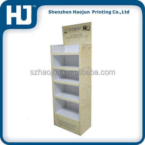 Fireworks corrugated floor display stand with metal hooks cardboard display shelf