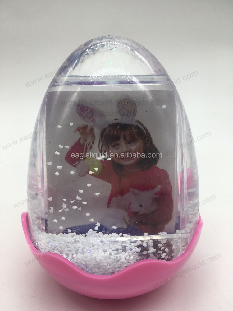 musical light up Happy Easter egg photo snow globe