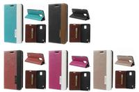 Contrast Color Leather Case w/ Closing Magnet for Samsung for Galaxy Note 4 Folio Case N910 - Black / Brown