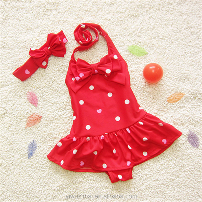 Red Girls One Piece Bow Swimsuit With Bow Headband Kids Girls Cute Swimwear