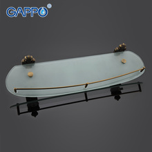 GAPPO 1Set Wall Mounted Bathroom Shelves antiquities Bathroom Glass shelf restroom shelf Hardware Accessories in two hooks G3607