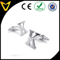 New Products Jewellery Stainless Steel Jewelry Cufflinks, Cheap Men's Name Initial Letter K Shirts Alphabet Cufflinks