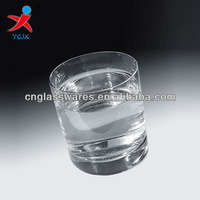 round clear drinking glass cup with thick bottom