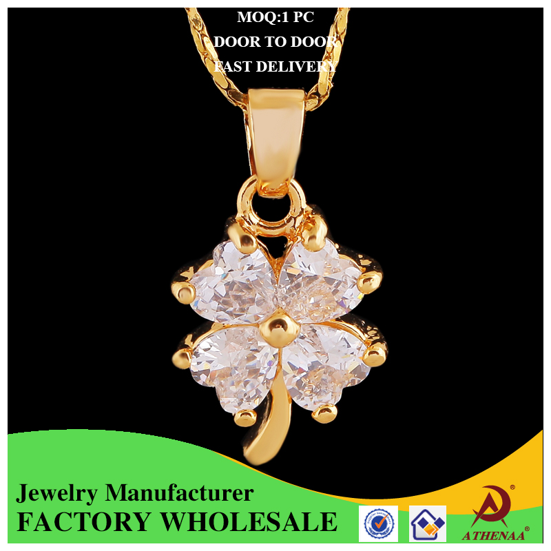 2017 wholesale fashion four-leaf clover pendant with big zircon