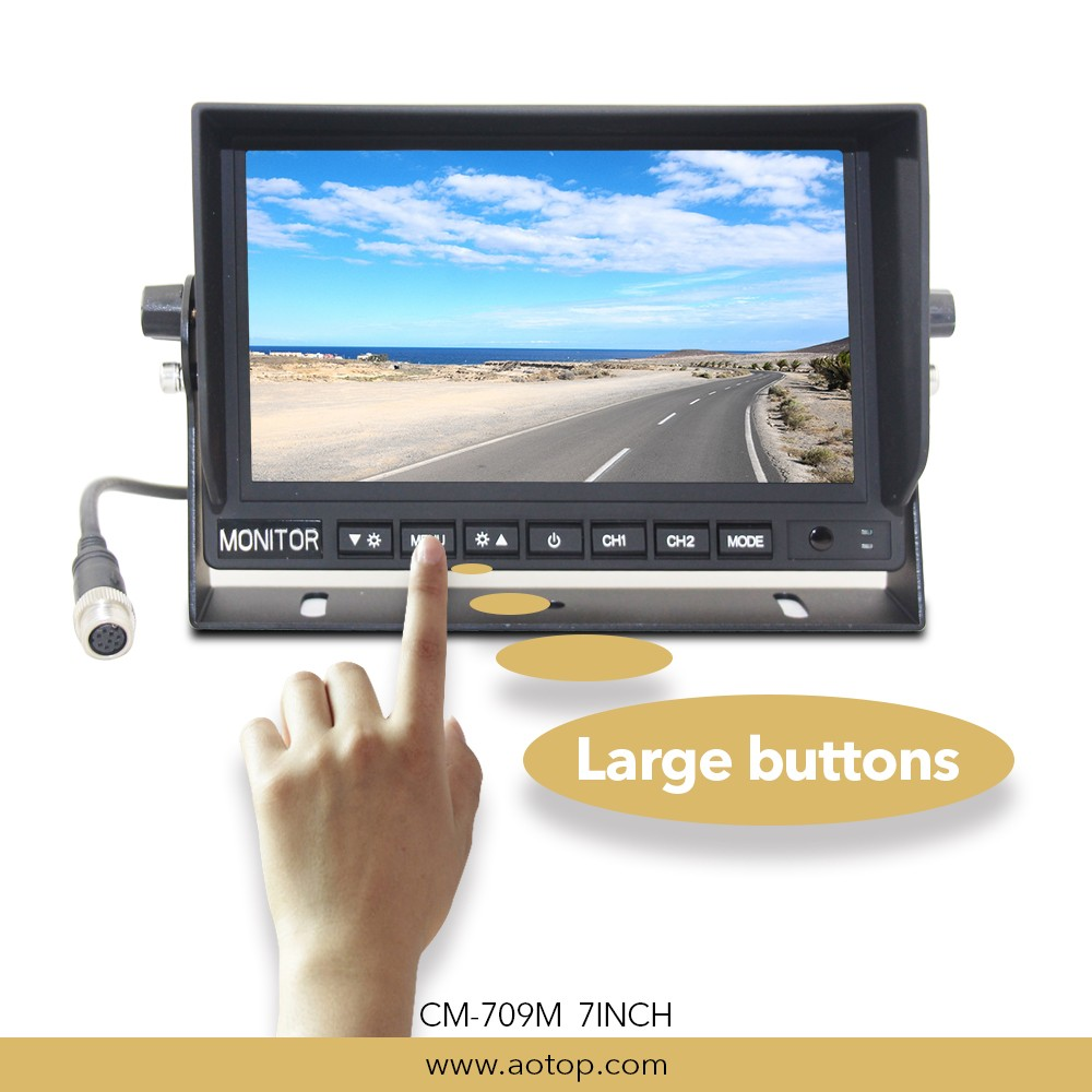 7 Inch New Car Monitor with 2 channel video input, built in speaker, OSD manu system