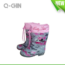 K053 Colorful printing lining PVC transparent clear rain boots