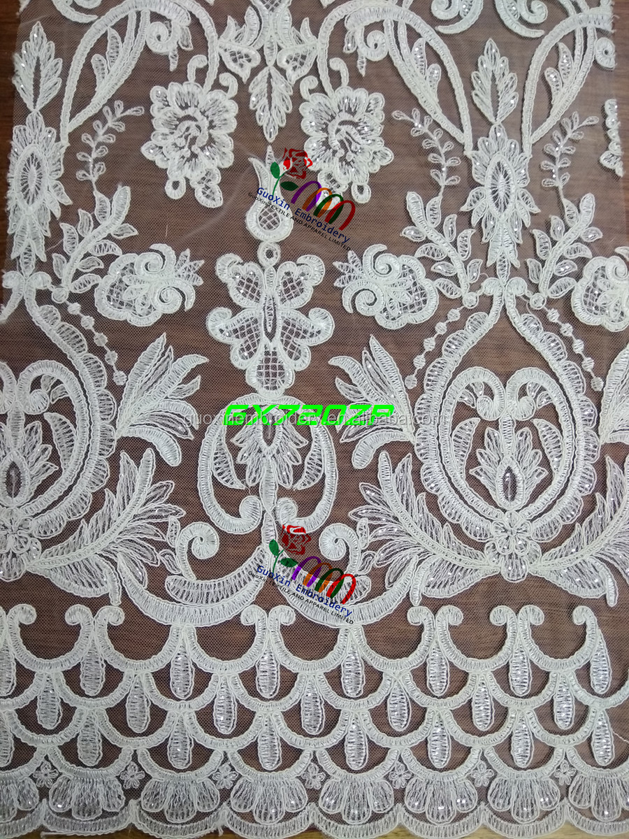 2017 wholesale Population chemical tulle Elegant Africa sequined lace fabric for garment