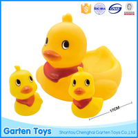 Crazy selling natural rubber baby bath duck toys with red scarf