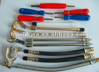 Tire valve extension/ air tire repair tool