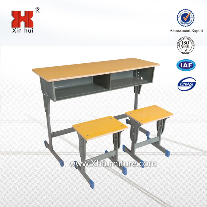 Double seat Desk and Chair, student study desk and chair, plywood top