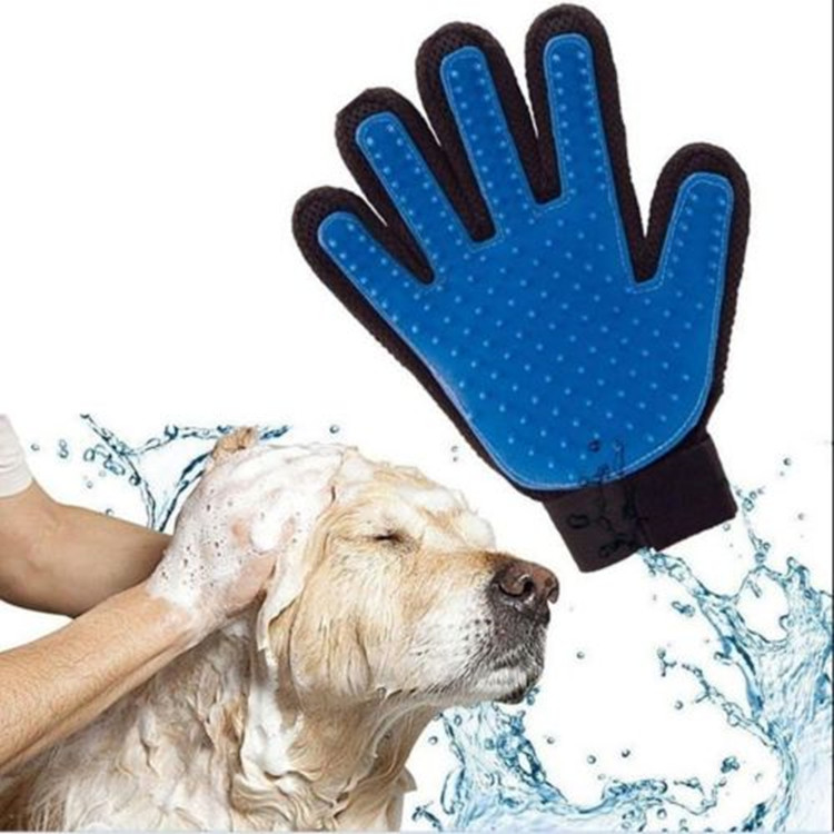 True Touch Five Finger Deshedding Glove Dog Grooming Brush Pet Grooming Glove