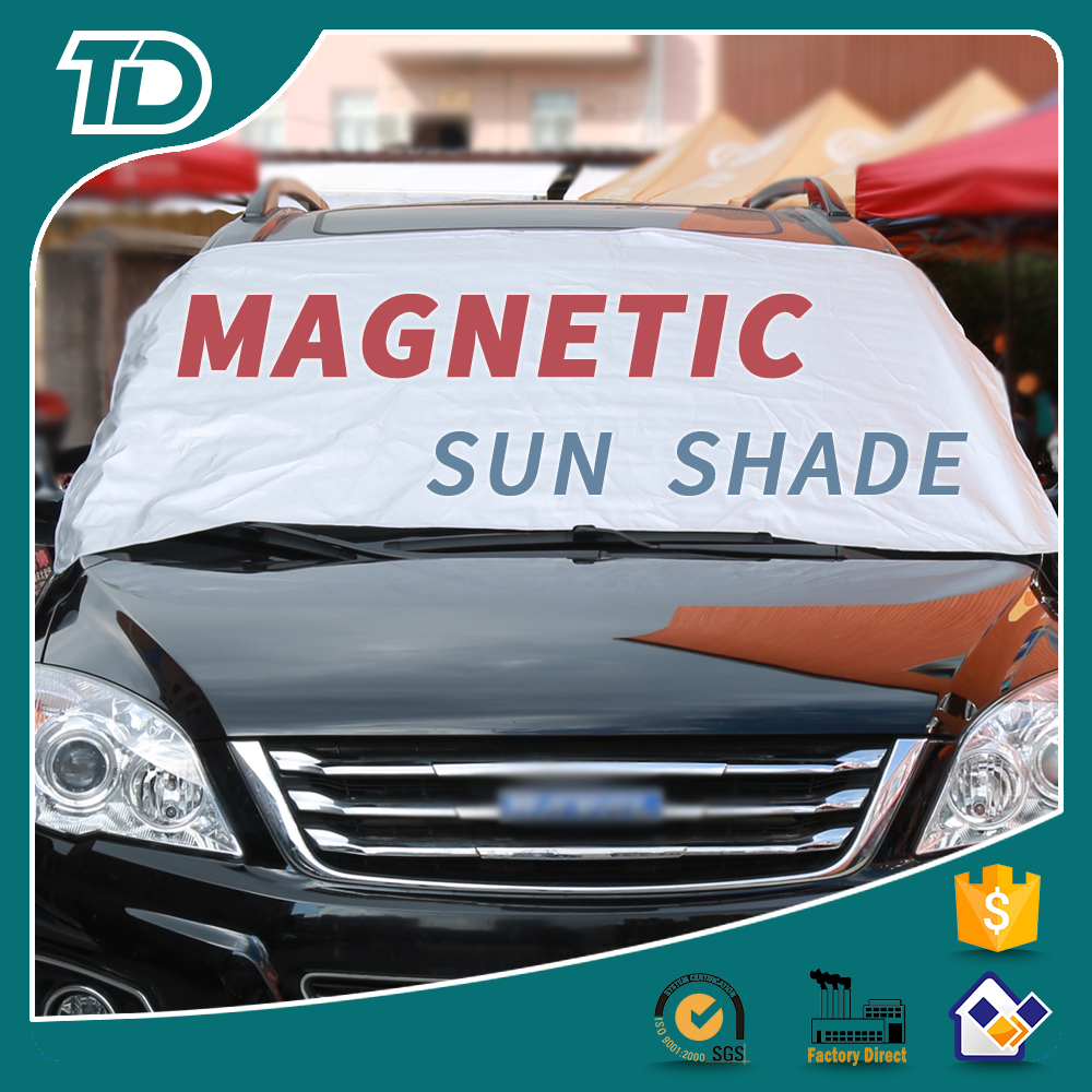Factory wholesale car sunshade polyester nylon mesh aluminum PE foam Tyvek front windshield car sun shade magnetic snow shade