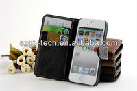 Leather case for iphone5 Wallet Flip Stand Leather Case for Apple iPhone 5, colorful