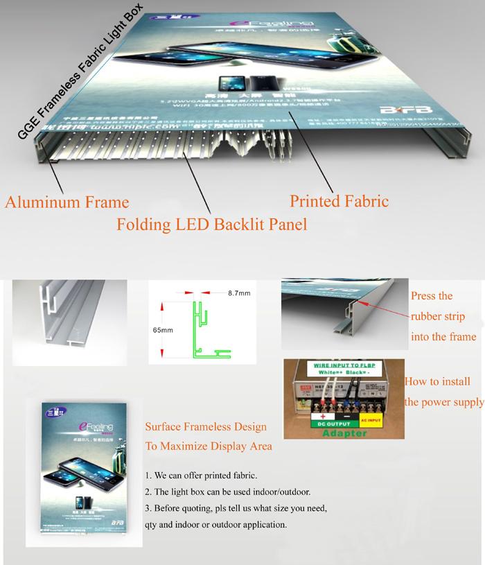 Advertising Light Box Light Frameless Textile For Outdoor