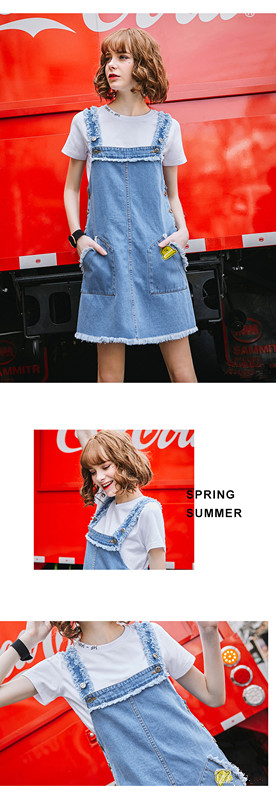 2017 Latest jeans Braces dress cute casual designs for girls front pocket Broken edged Bull-puncher dress