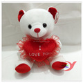 Valentine day white teddy bear high quality plush toy for girlfriend wholesale