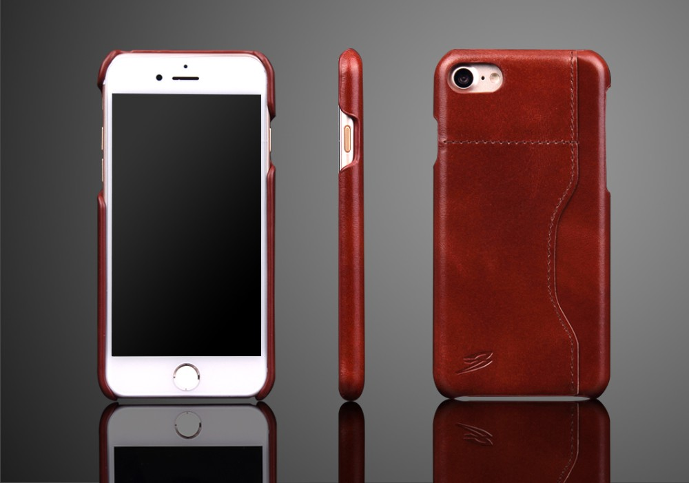 top grain cow leather cell phone case for iPhone 7 case