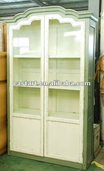 French style furniture big 2door glass cabinet