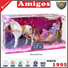 toy brand Horse carriage light plastic doll with horse