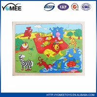 Educational colorful wooden diy wooden animals puzzle toy