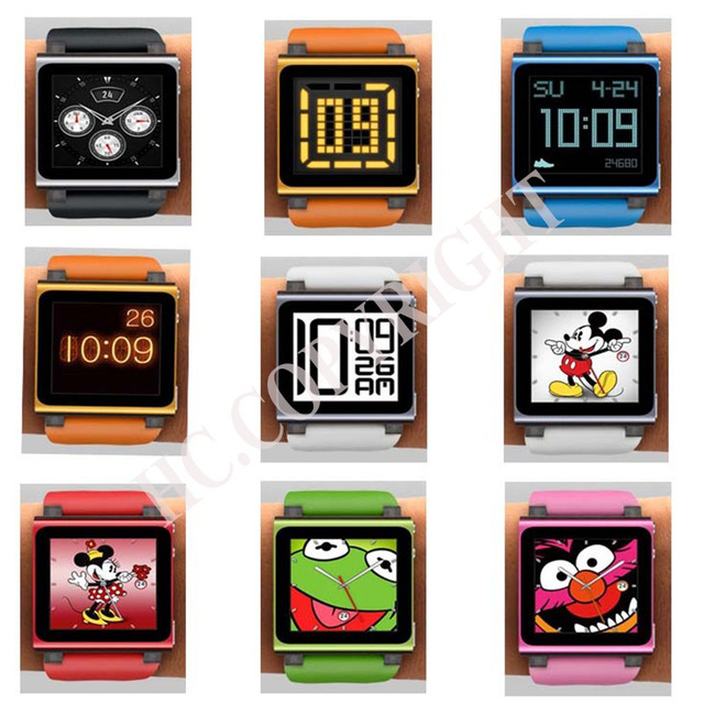Fit your iPod Nano 6 Colorful  Digital iwatchz Q Collection Silicone Wrist Watch Strap Soft Case Cover for 6th Gen Generation
