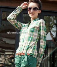 latest trendy hot selling slim fit green check/plaid casual shirts for girls/ladies with button down collar