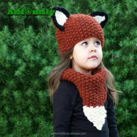 Factory Cute Wholesale Children Cartoon Animal Acrylic Winter Knit Beanie Warm Knitted Hat With Collar