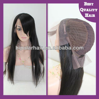 3 inch parting Indian remy lace front wig with bang