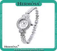 Women Fashion 925 Sterling Silver Gemstone Topaz Shell Case Wrist Watches