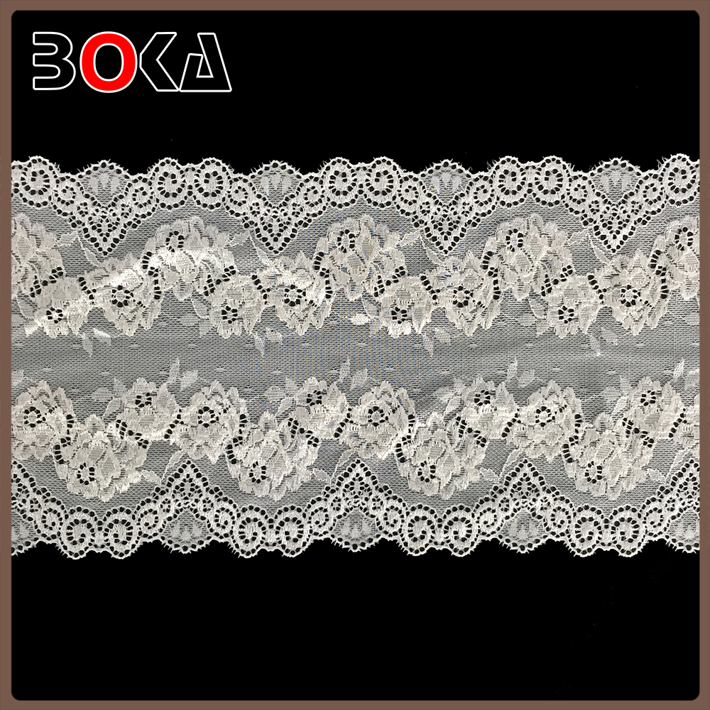 BOKA Natural Color 7 Inch Elastic Spandex/Polyester Guipure Lace Trimming Wholesale Dress Lace For Clothes BK-TRM2271