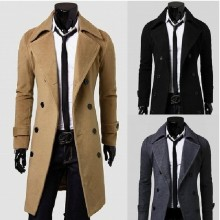New Design 100% Cashmere Sheepskin Long Winter Coats For Men Korean