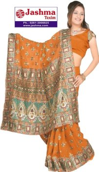 polyester embroidered saree