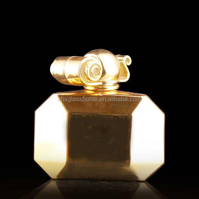 100ml UV metal electroplated perfume glass bottle empty hexagonal gold perfume bottle with cap pummp