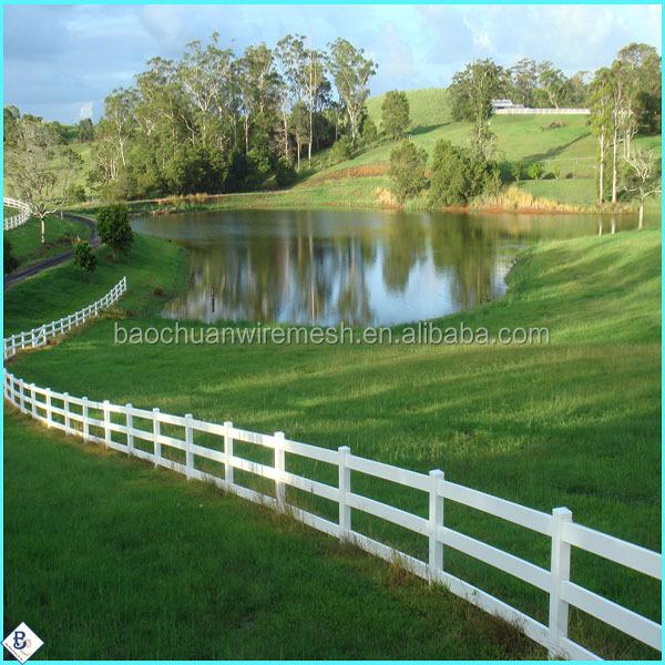 3 rails white pvc horse fence