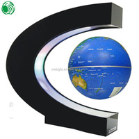 High end gift C shape base 3 inch floating globe wedding gift wall clock