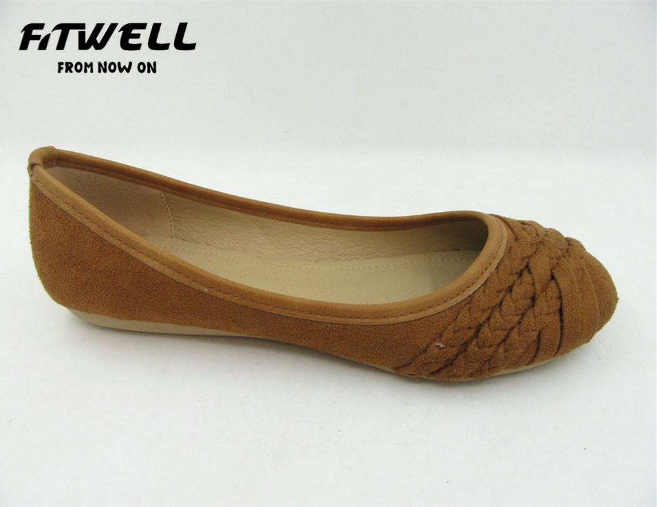 new arrival tan color ladies simple ballet shoes