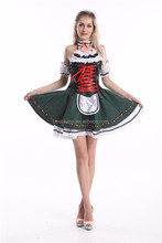 Oktoberfest beer maid costume girl waitress green skirt outfit S-2XL