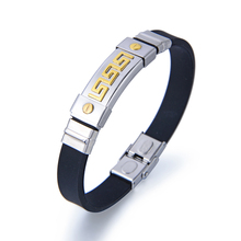 Latest Design Silicone Rubber Bracelet Stainless Steel Magnetic Clasp Male Bracelet