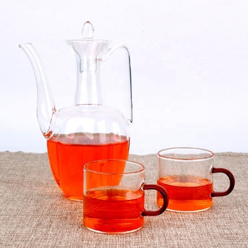 500ml Pyrex Handblown Custom Round Glass Teapot With handle