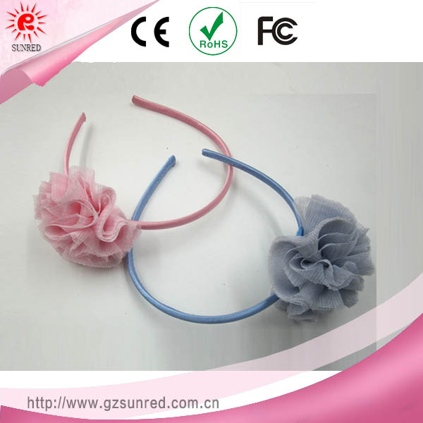 Lovely Smooth Fabric Flower Girl Hair Bands Pink , Light Bule Headband For Kids