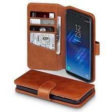GENUINE LEATHER - Executive Folio Wallet Cover Flip - Viewing Stand - Card Slots Case for Samsung Galaxy S8(2017)
