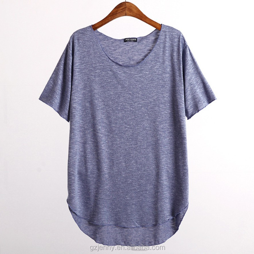 Women Longline Curved Hem Organic Slub Cotton Bamboo T Shirt