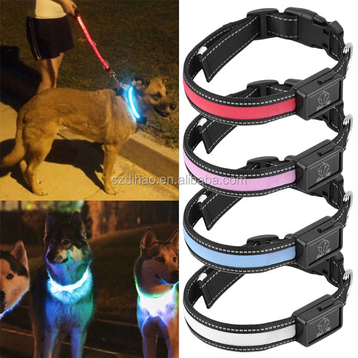 DIHAO 2016 Fashion Pet USB rechargeable LED flashing dog collar solar battery charging led dog collar