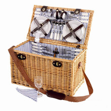 Leather Handle Natural Wicker Picnic Beaded Weave Hanging Basket